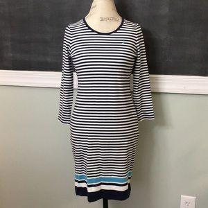 Nautica Blue and White Striped Stretch Dress S